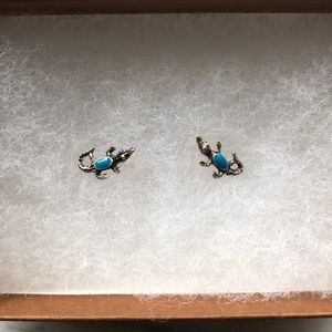 Tiny Alligator with Blue Back Earring Studs
